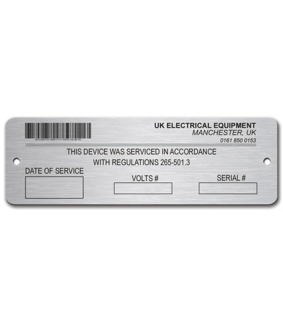 Stainless Steel Name Plate 108mm x 35mm