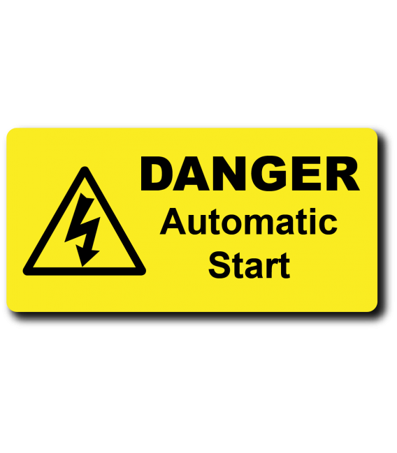 Danger Automatic Start Label