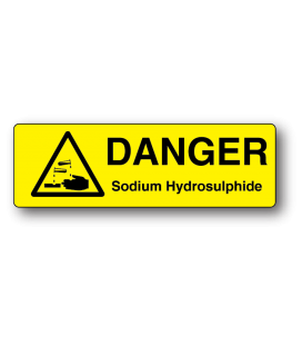 Danger Sodium Hydrosulphide Strip Label