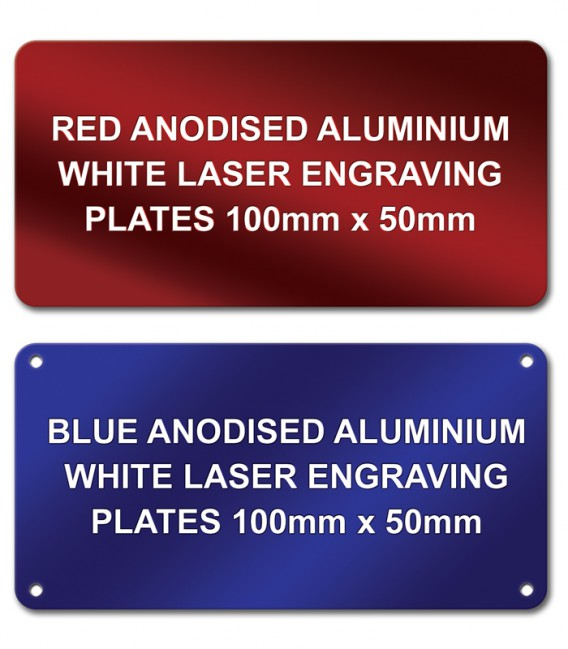 Anodised Aluminium Plate 100mm x 50mm - Laser engraved