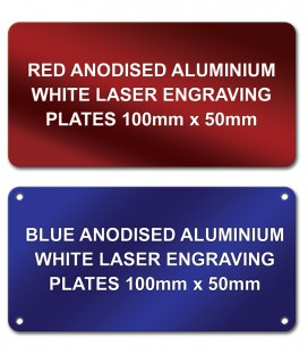 Anodised Aluminium Plate 100mm x 50mm - Laser engraved