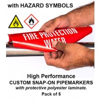 High Performance Custom Snap-On Pipe Markers Pack (with Symbols)