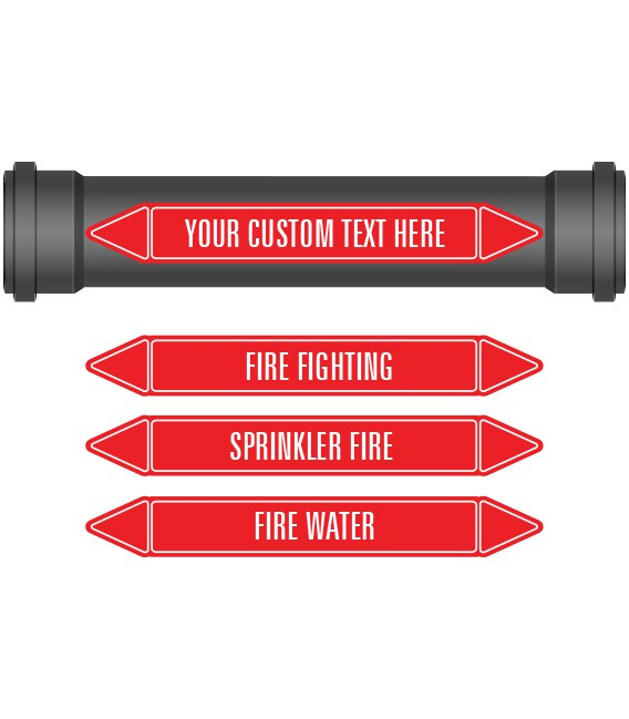 Pipe Marker 10 Pack - Fire Fighting Coloured Coded Red