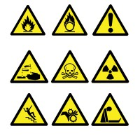 Hazard Triangle Stickers on a Roll