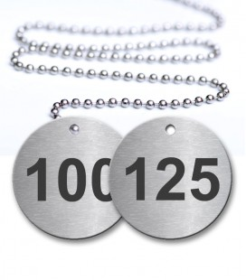 100-125 Numbered Tags Pack - Engraved Stainless Steel